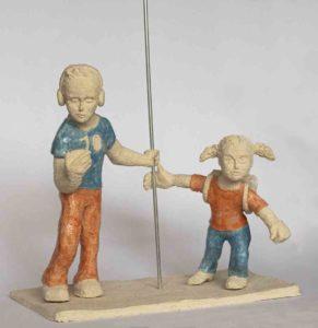 Sculpture de Joëlle Ordner en terre cuite partiellement émaillée